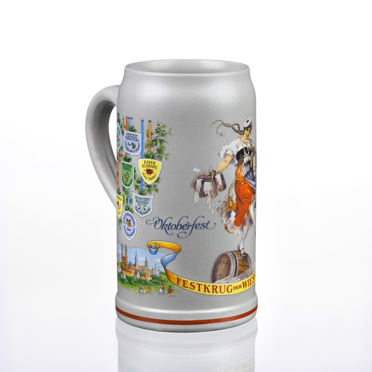 Three Quarter View of 1L Official Schutzenliesl Beer Mug from 2011 Munich Oktoberfest