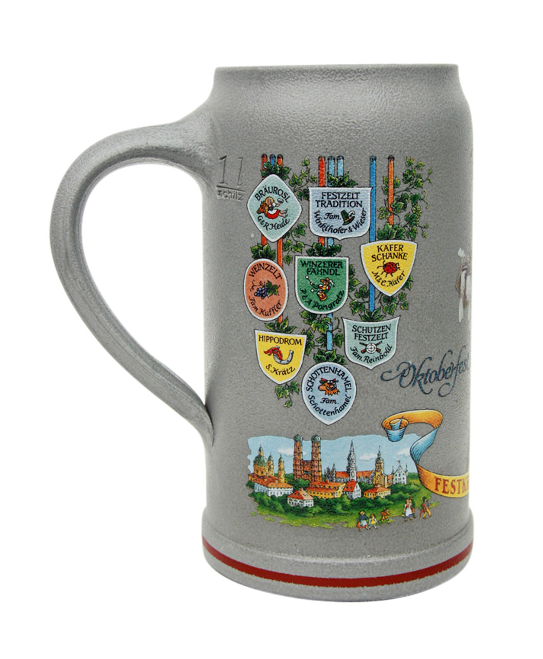 Beer Tent Logos on Right Side of Official 2011 Oktoberfest Wirtekrug 1L Beer Mug