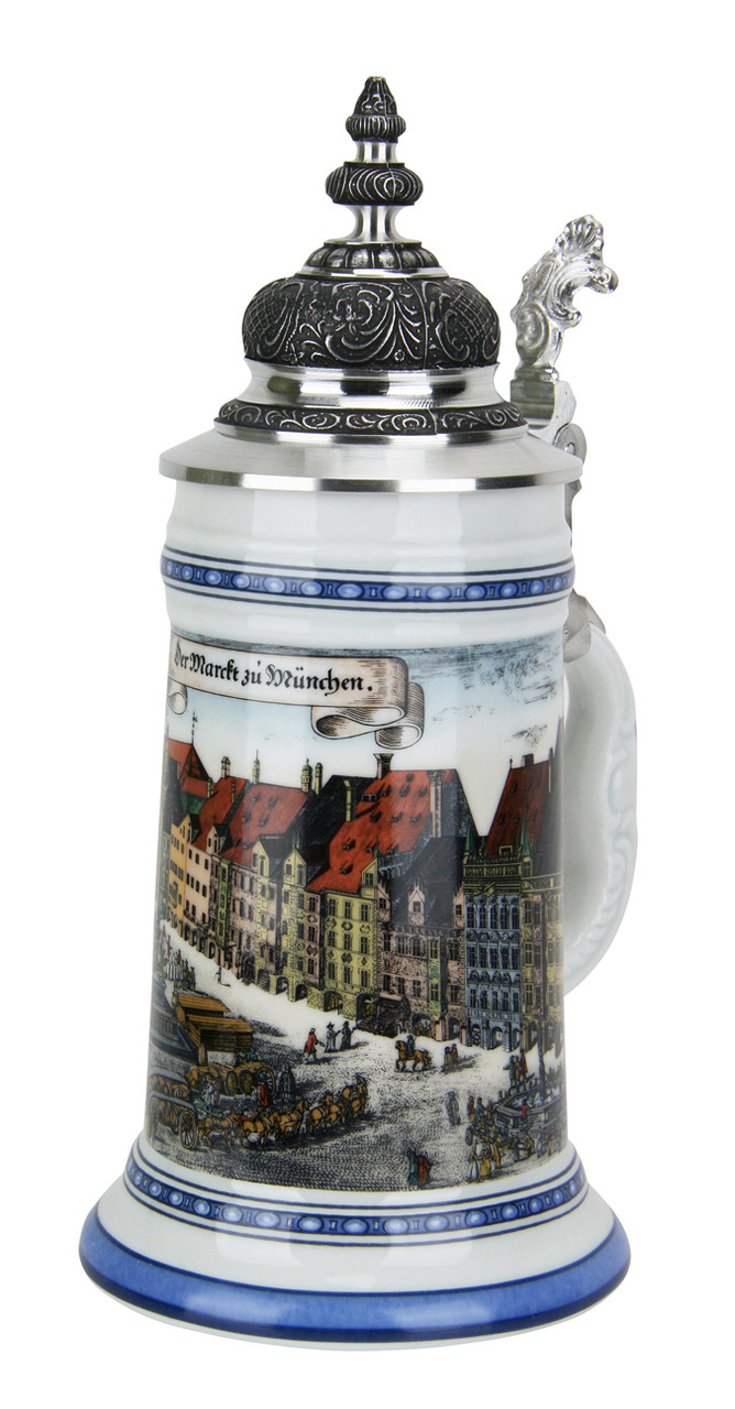 Munchen Porcelain Beer Stein with Facon Lid