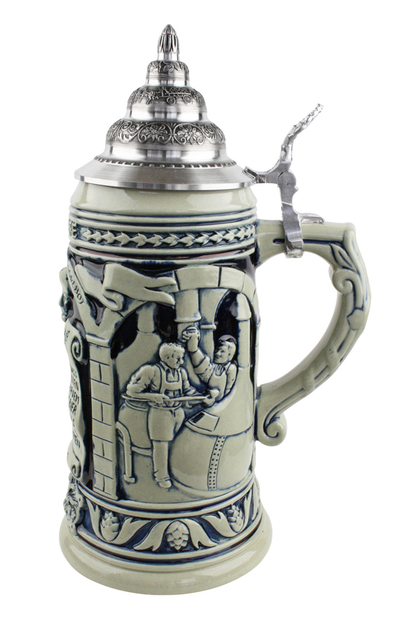 German beer mug with lid commemorating 1516 Reinheitsgebot beer purity law