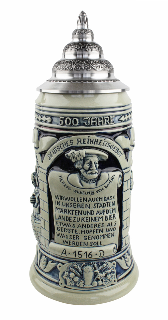 Ceramic beer stein honoring Reinheitsgebot 1516 German Beer Purity restrictions