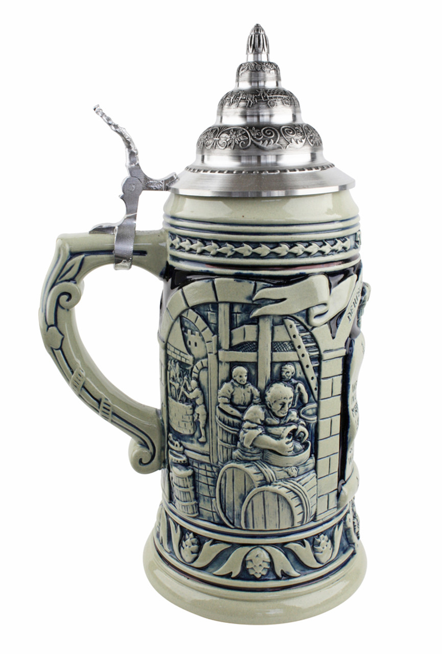 Authentic cobalt ceramic beer mug celebrating the 1516 German Beer Purity Law