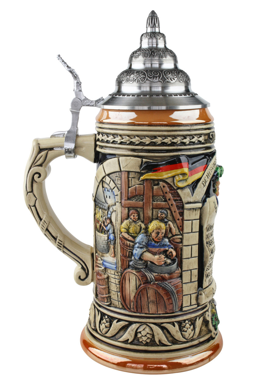 Celebrate your German heritage with a ceramic beer stein commemorating the 1516 Reinheitsgebot beer purity law