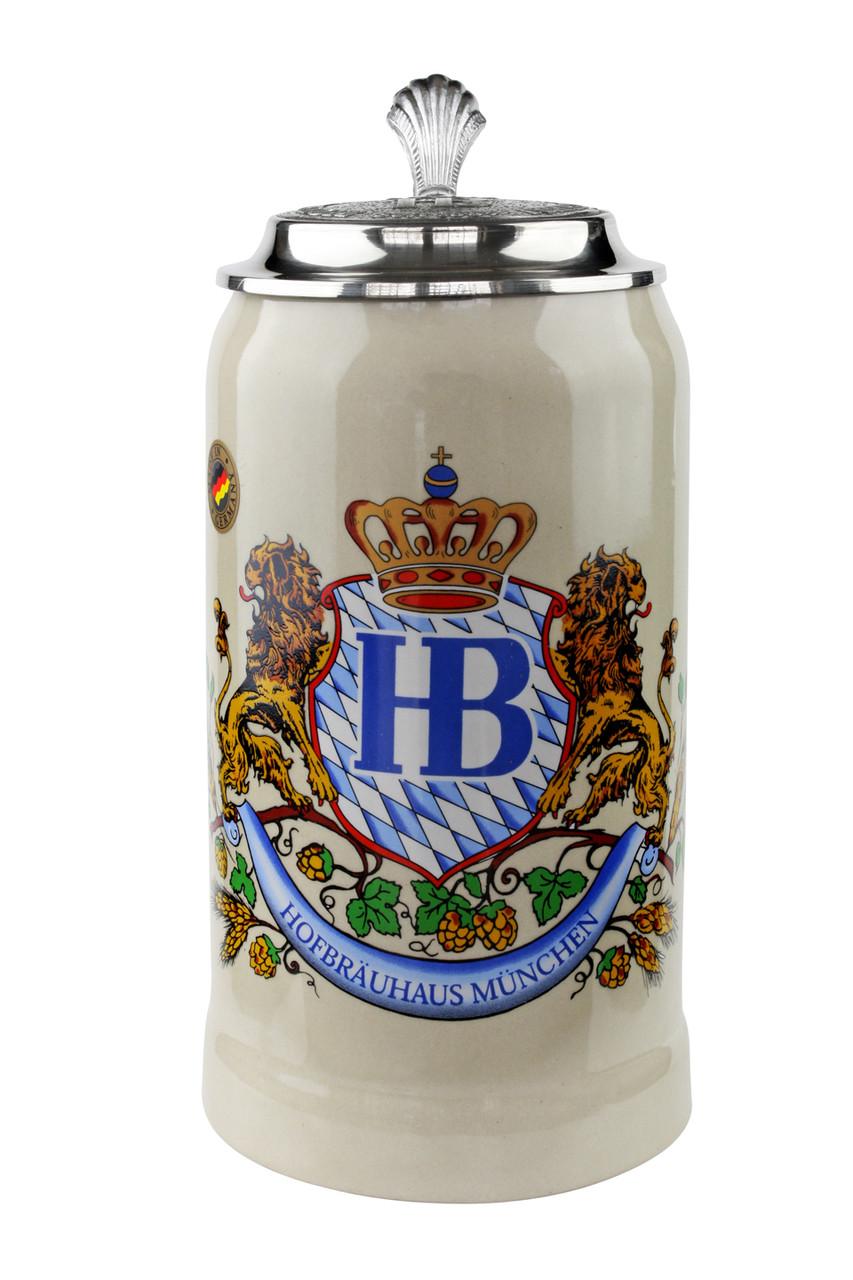 Hofbrauhaus Beer Stein with Pewter Lid