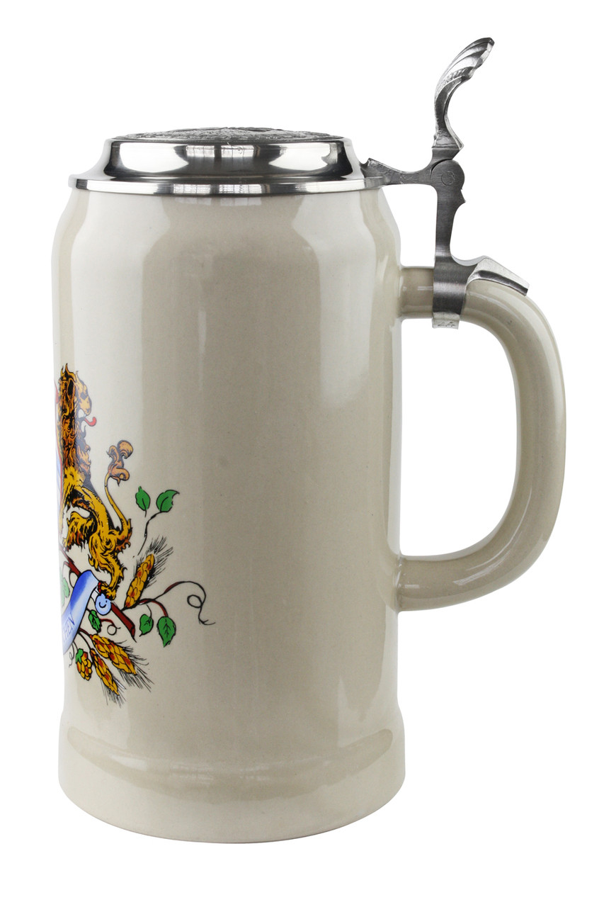 Ceramic Beer Stein with Handle and Lid