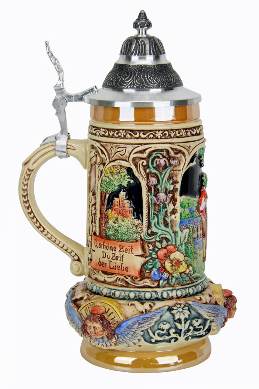 Gold Multi-Colored Wedding Beer Stein with Couple