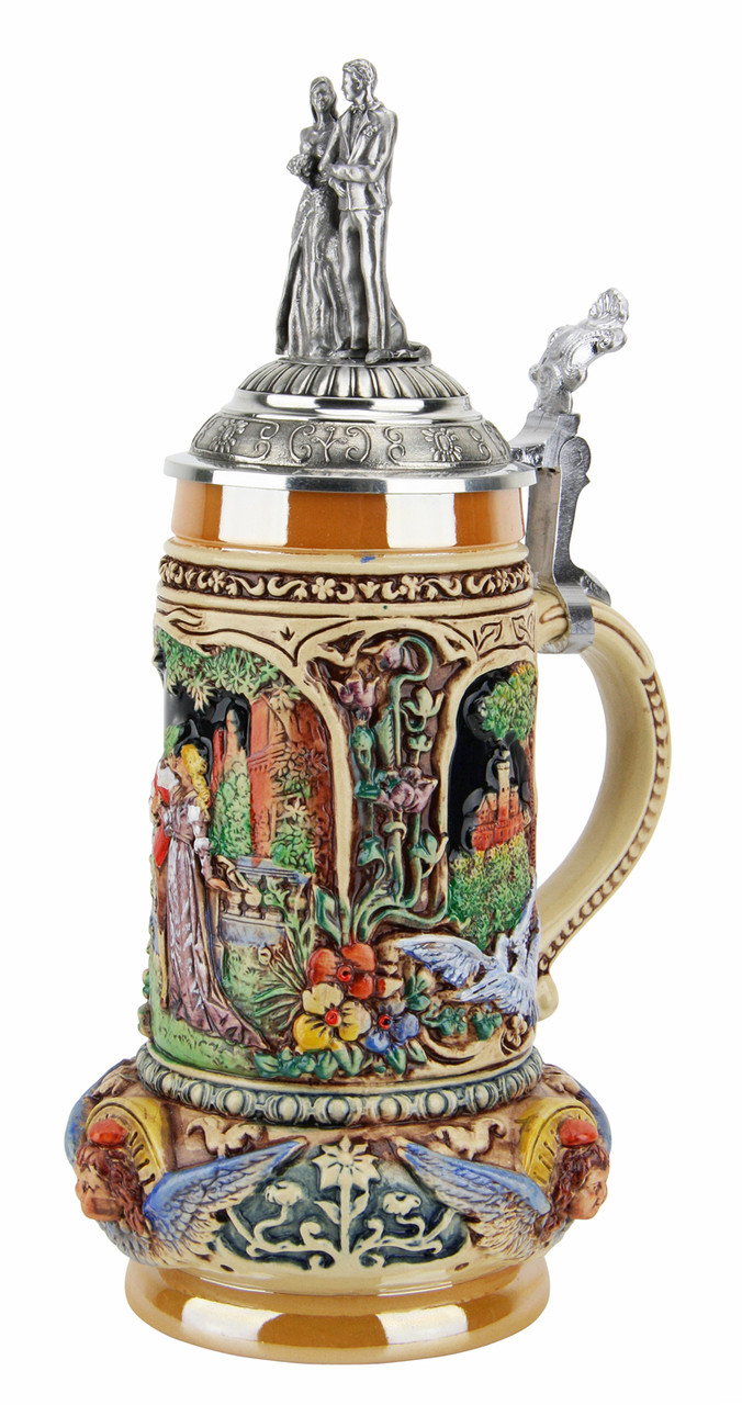 Handmade German Beer Stein with Pewter Lid