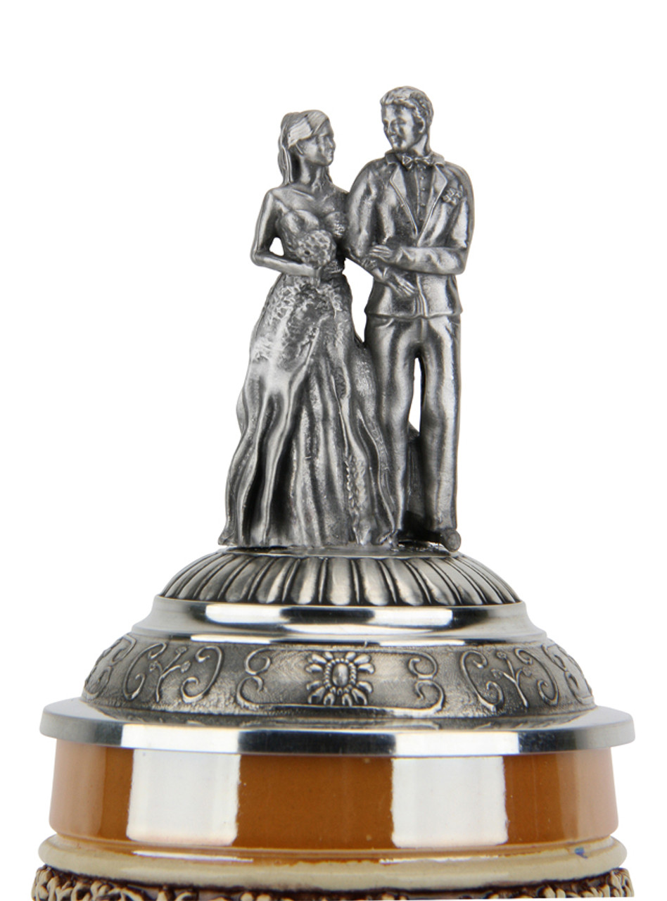 Unique Bride and Groom Pewter Lid