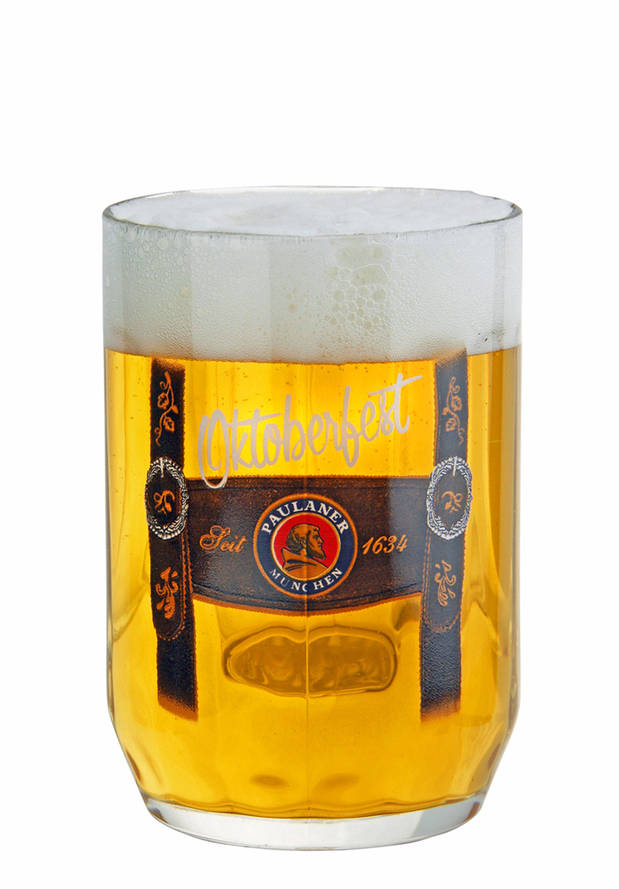 Authentic Paulaner 0.5 Liter Beer Mug with Traditional Lederhosen