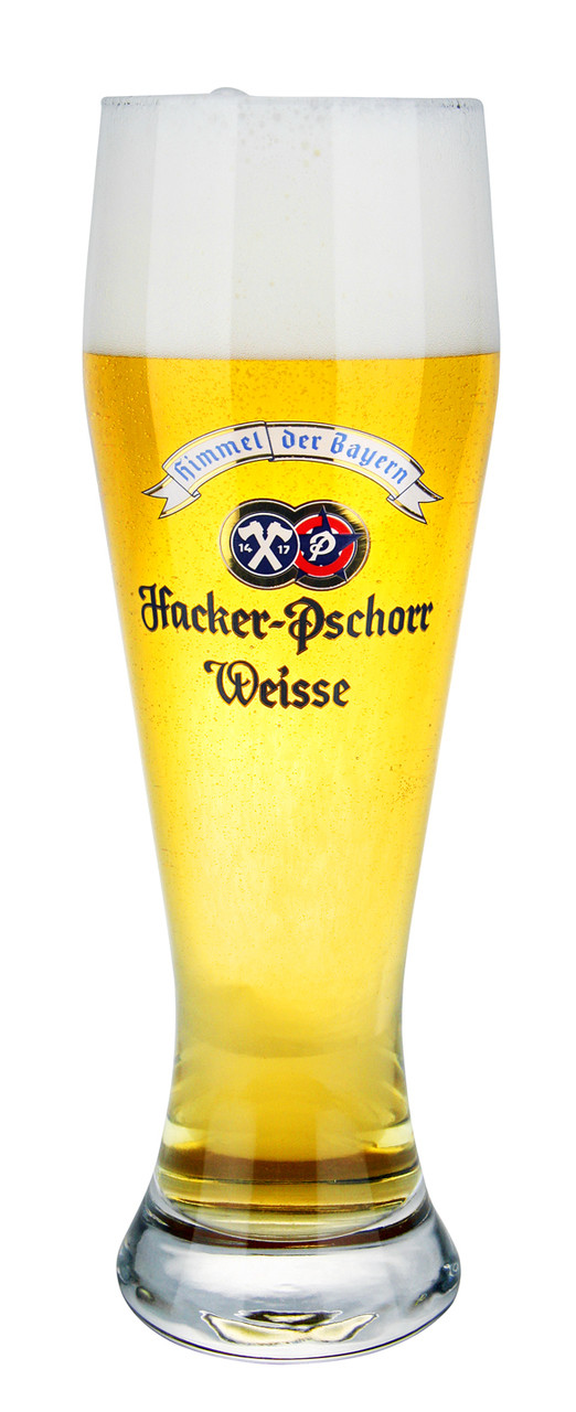 Authentic .5 Liter Hacker Pschorr Wheat Beer Glass with Beer
