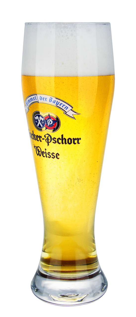 Traditional Hacker Pschorr .5 Liter Wheat Beer Glass with Beer