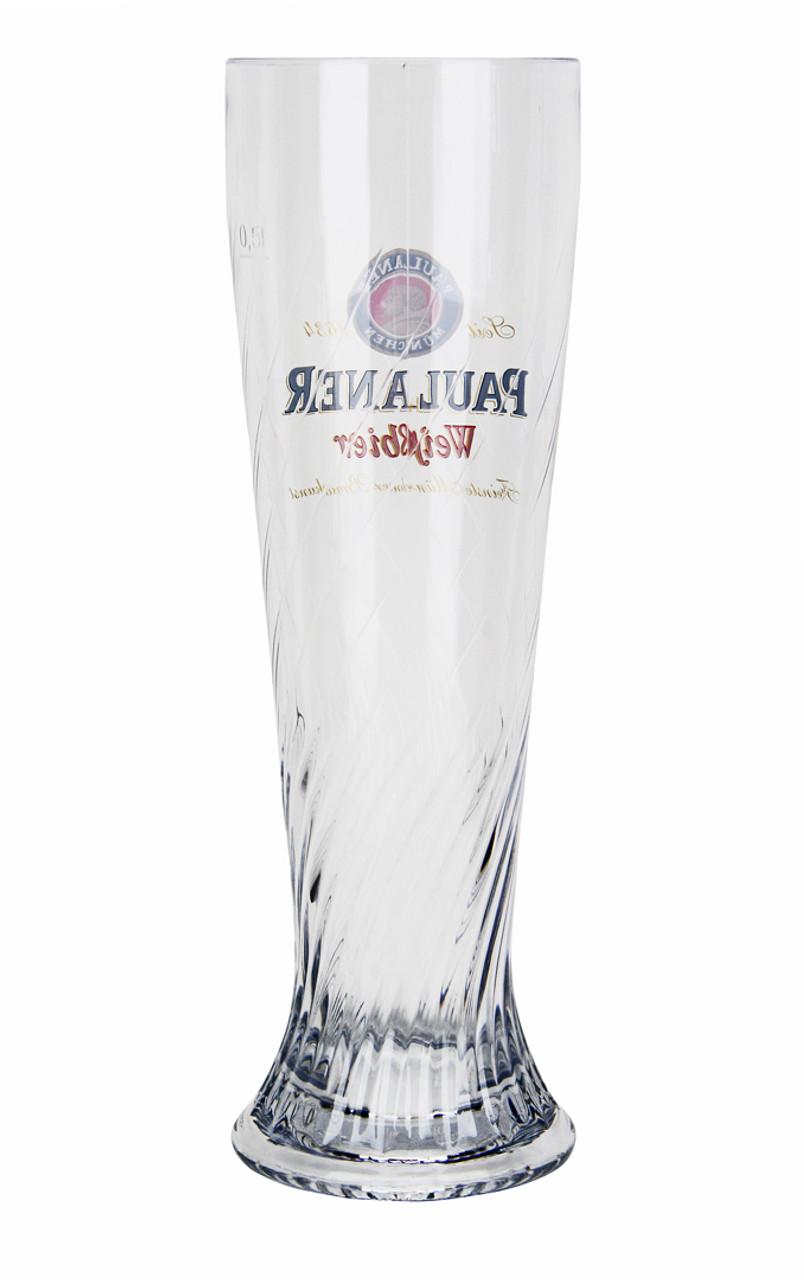 German Wheat Beer Glass with Paulaner Logo