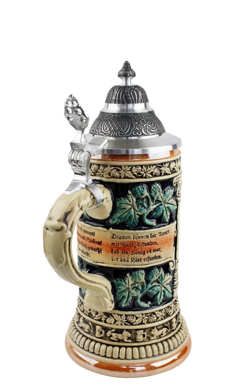 .3 Liter Hand Painted German Beer Stein with Pewter Lid