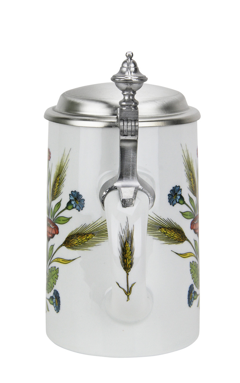 Porcelain beer stein with pewter lid depicts German Purity Law