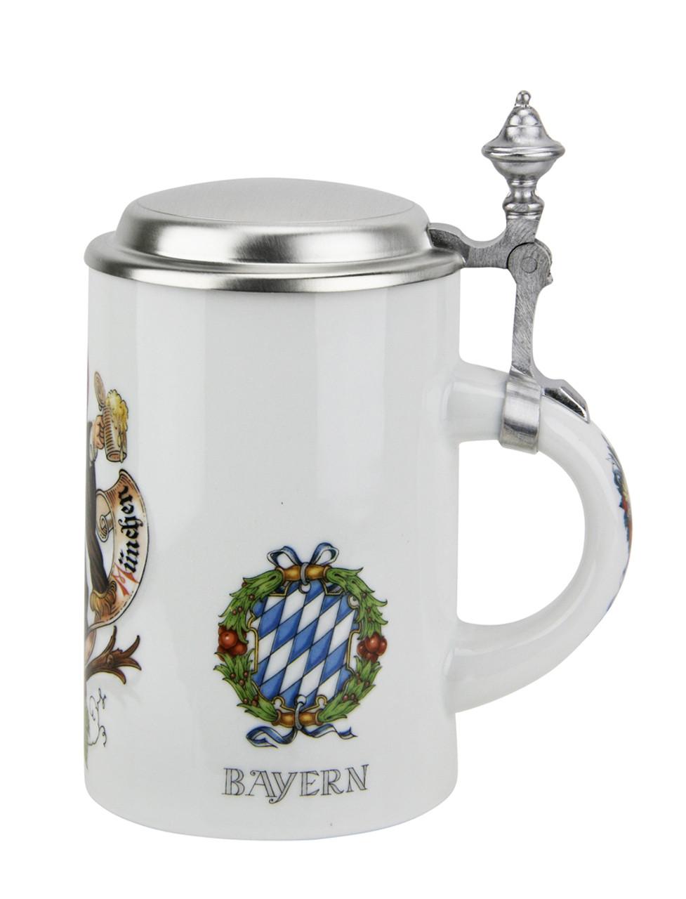 German Ceramic Beer Stein with Lid