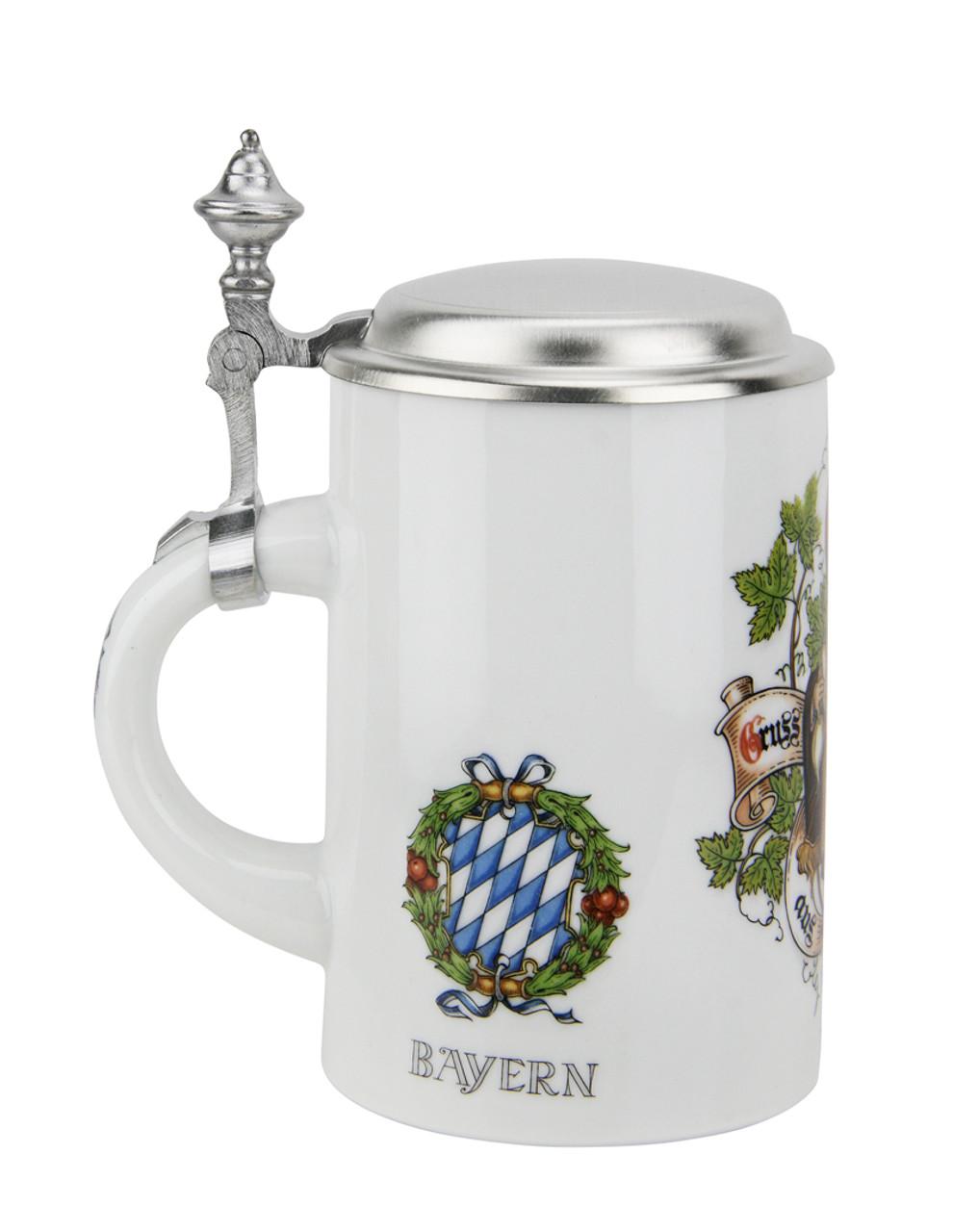 Porcelain German Beer Stein with Pewter Lid