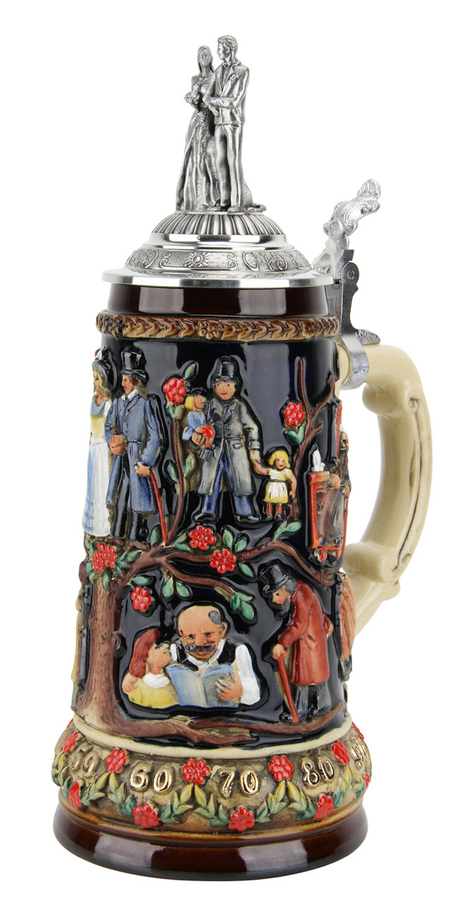 German Wedding Beer Stein with Lid