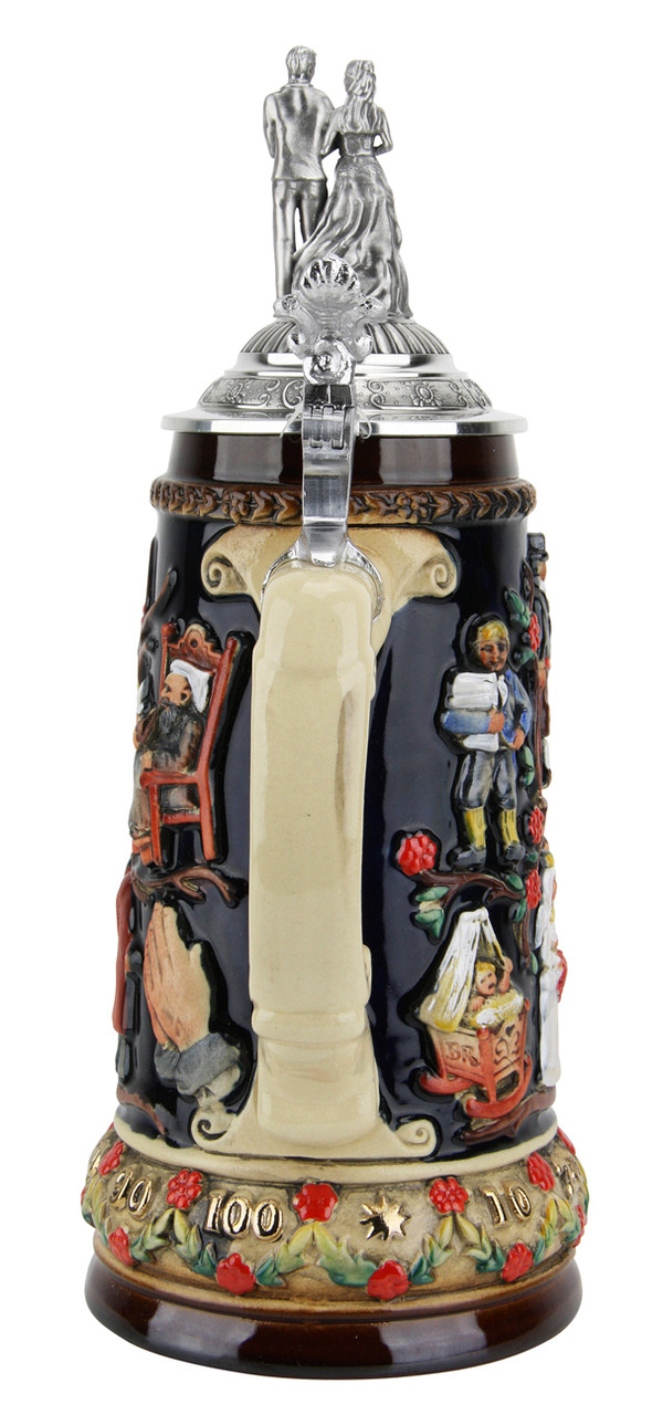 Traditional German Beer Stein with Pewter Lid