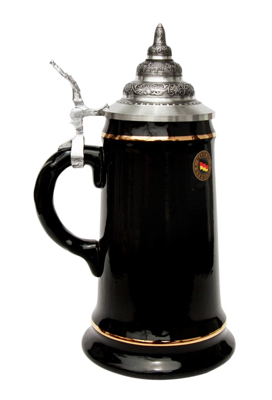 .5 Liter Black Glaze Beer Stein with 24K Gold Accents and Pewter Lid and Thumblift