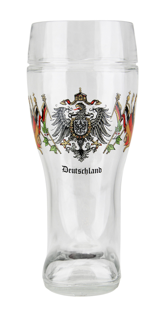 Collectible Beer Boot Mug with Deutschland Eagle and Flags