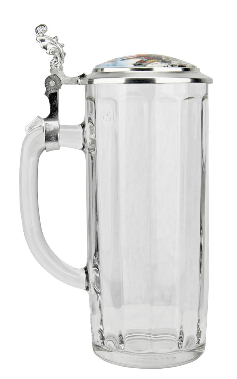 Collectible Half Liter German Glass Beer Stein