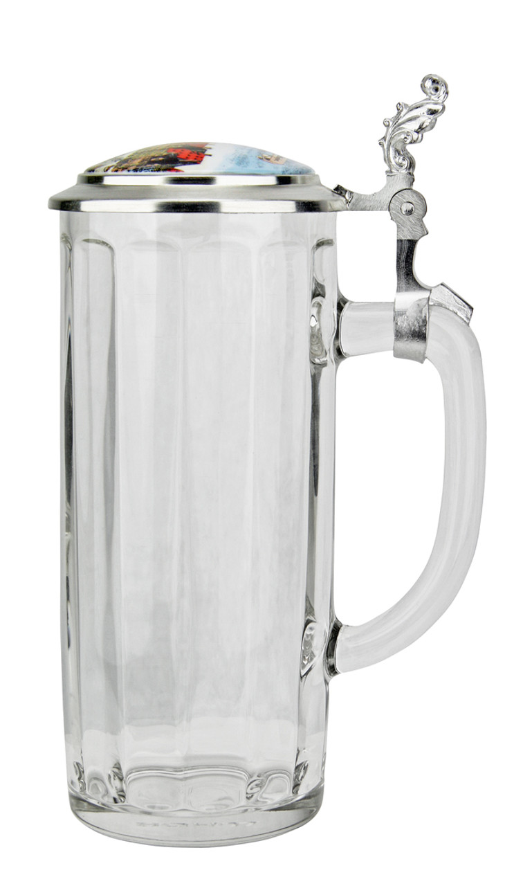 Munich Traditional German Glass Beer Stein with Lid