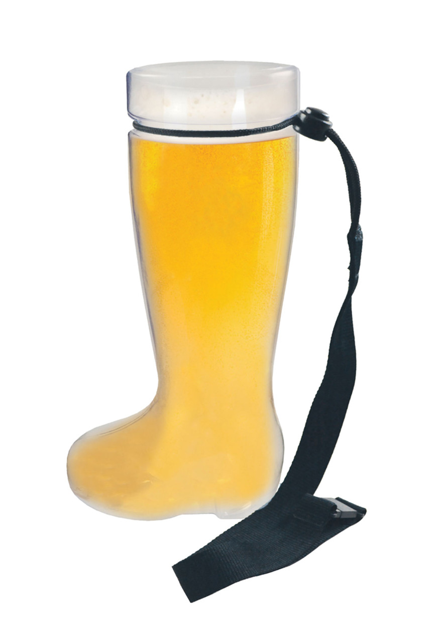 Plastic 1 Liter Beer Boot with Black Lanyards 24 Pack