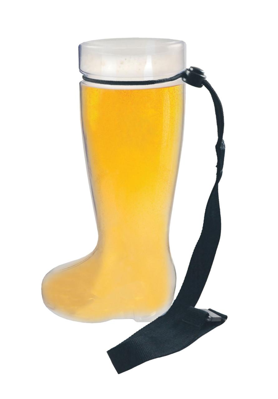 Plastic 1 Liter Beer Boot with Black Lanyard