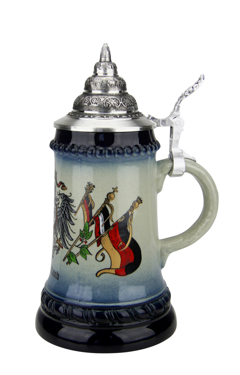 .25 Liter German Beer Stein with Eagle & Crown Crest and Pewter Lid