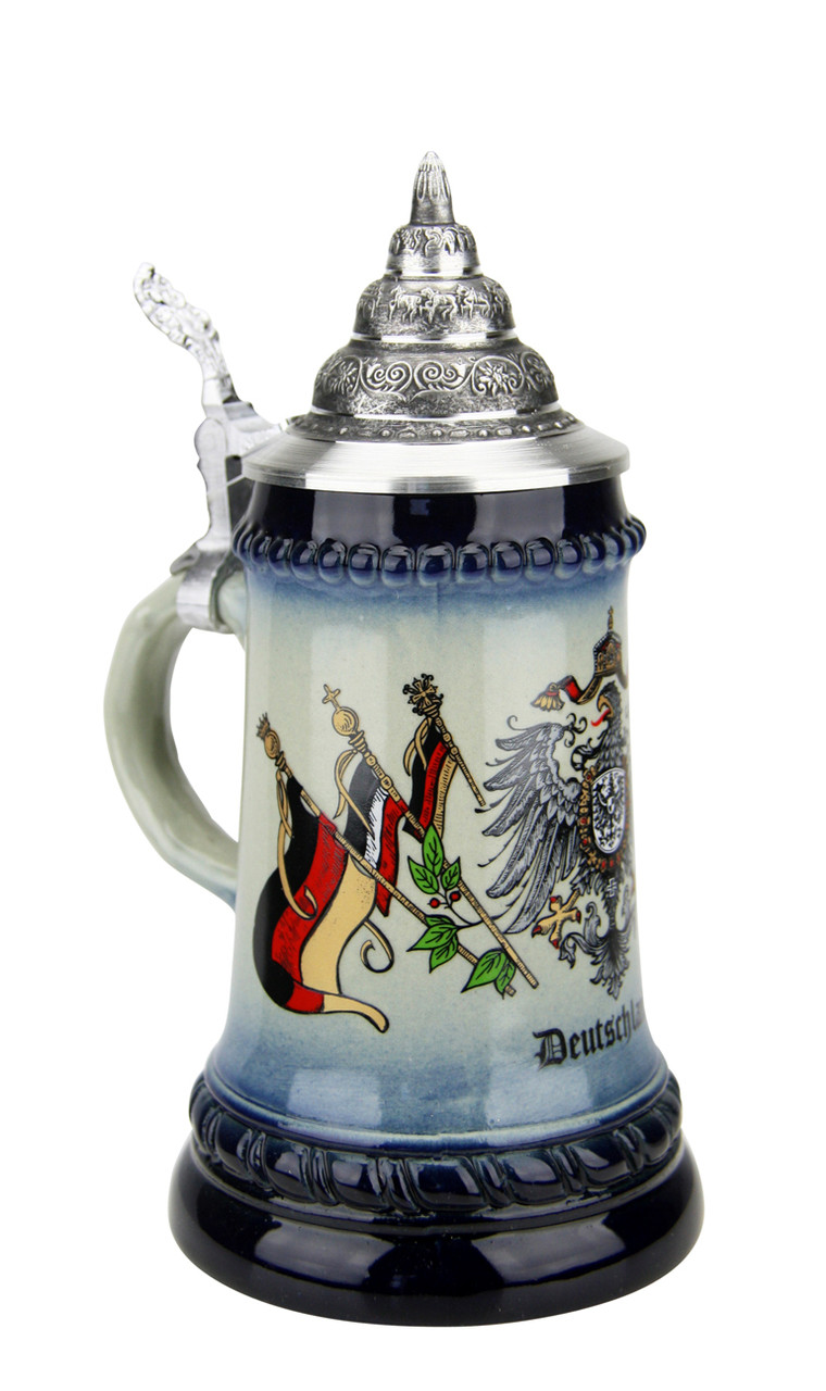 German Beer Stein with Eagle Crest & German Flags