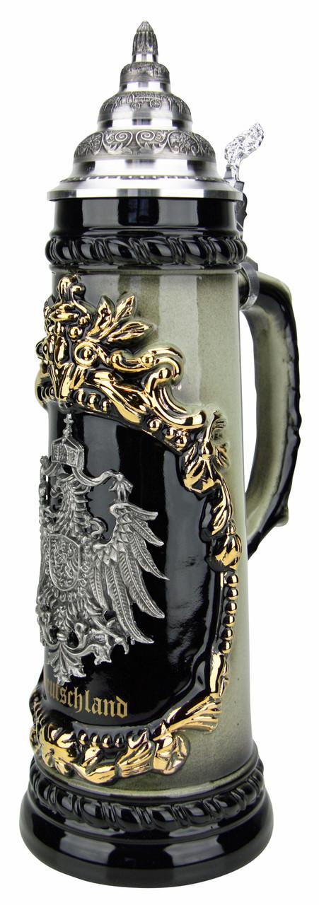 Deutschland German Eagle Beer Stein with Pewter Eagle | 1 Liter