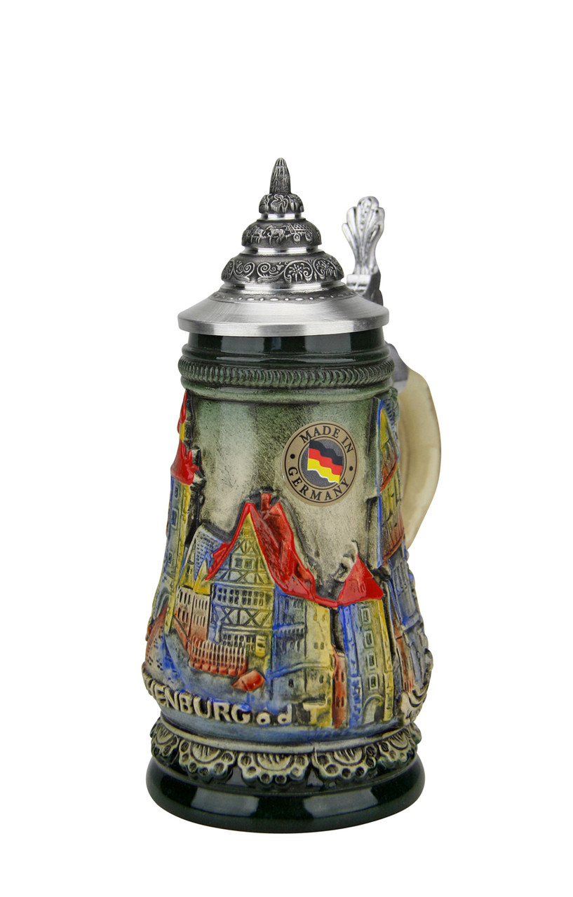 Hand-Painted Mini German Stein with Pointed Pewter Lid