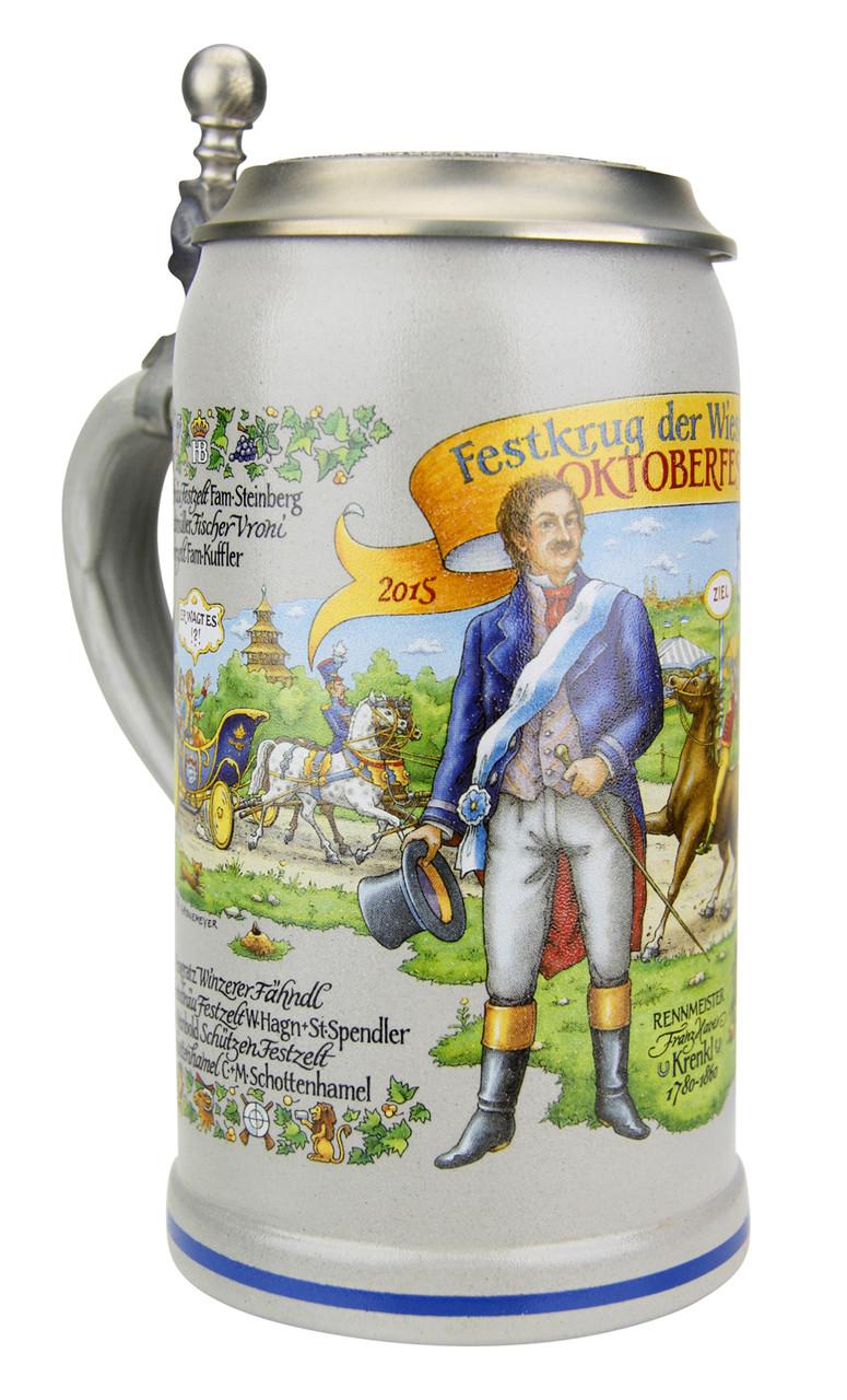 2015 Oktoberfest Wirtekrug Salt Glaze Beer Stein