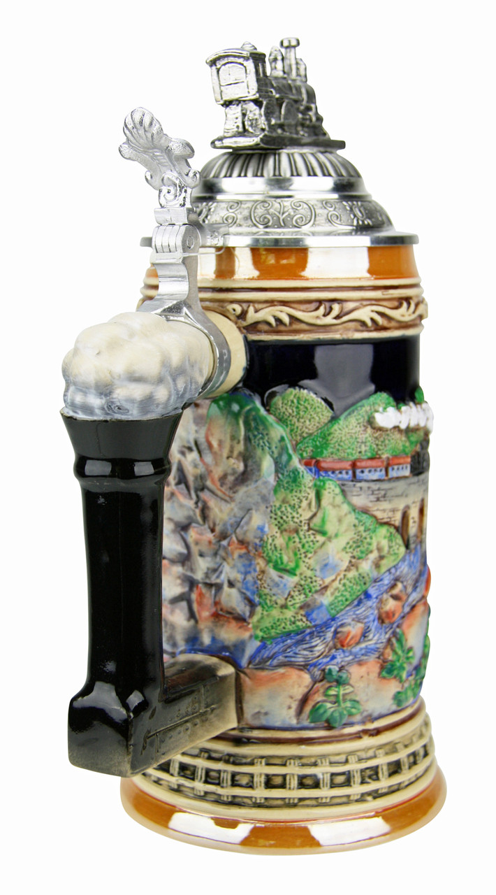 Train Beer Stein with Pewter Train Figurine Lid