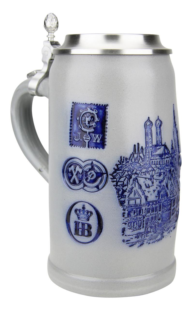 Munich Breweries 1 Liter Salt Glaze Stoneware Beer Stein