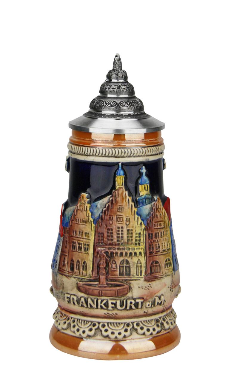 .125 Liter German Stein of Frankfurt with Pewter Lid