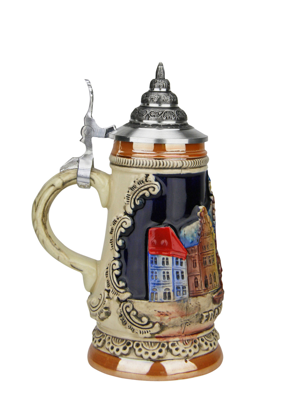 Small 4.2 oz German Beer Stein with Pointed Pewter Lid