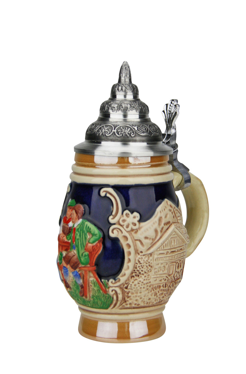 Hand-Painted Mini Stein with Cobalt Blue Glaze