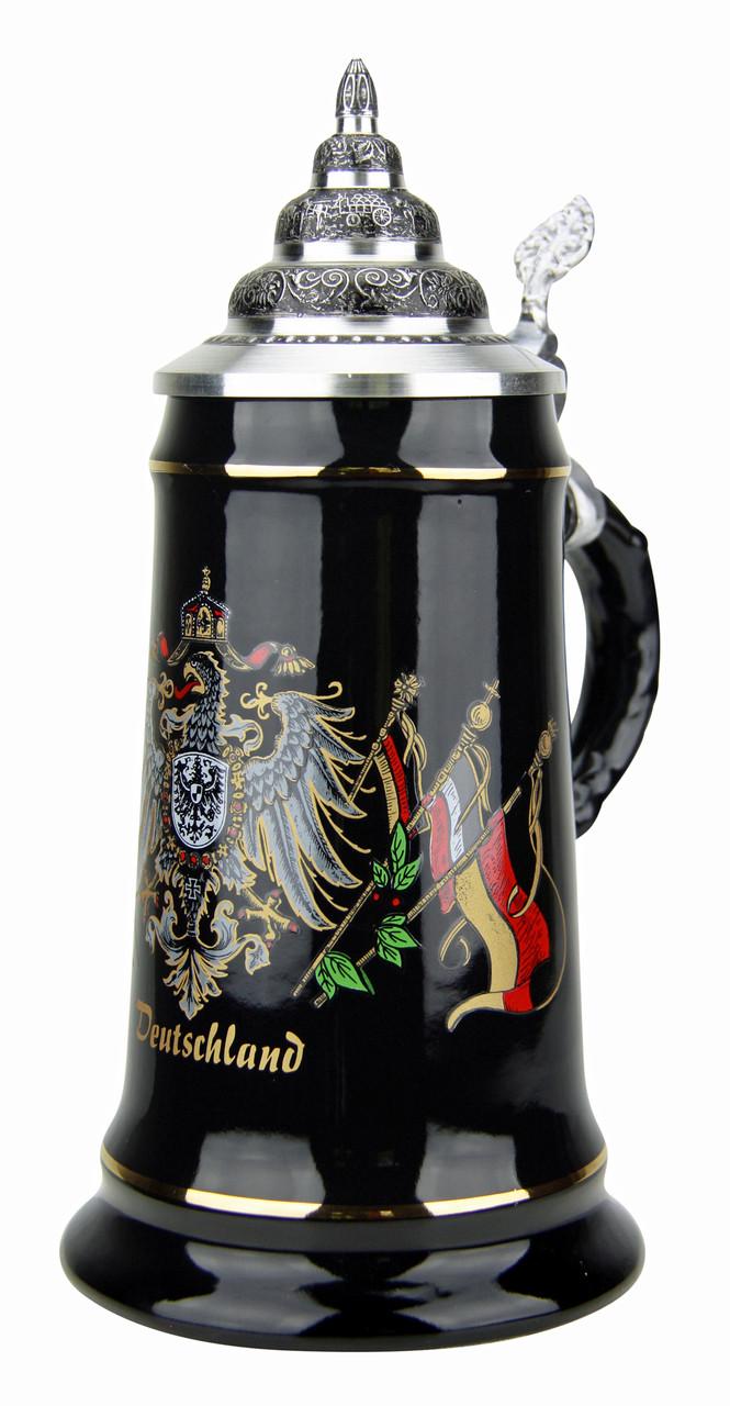 Deutschland Eagle Crest and Flags Black Glaze Beer Stein
