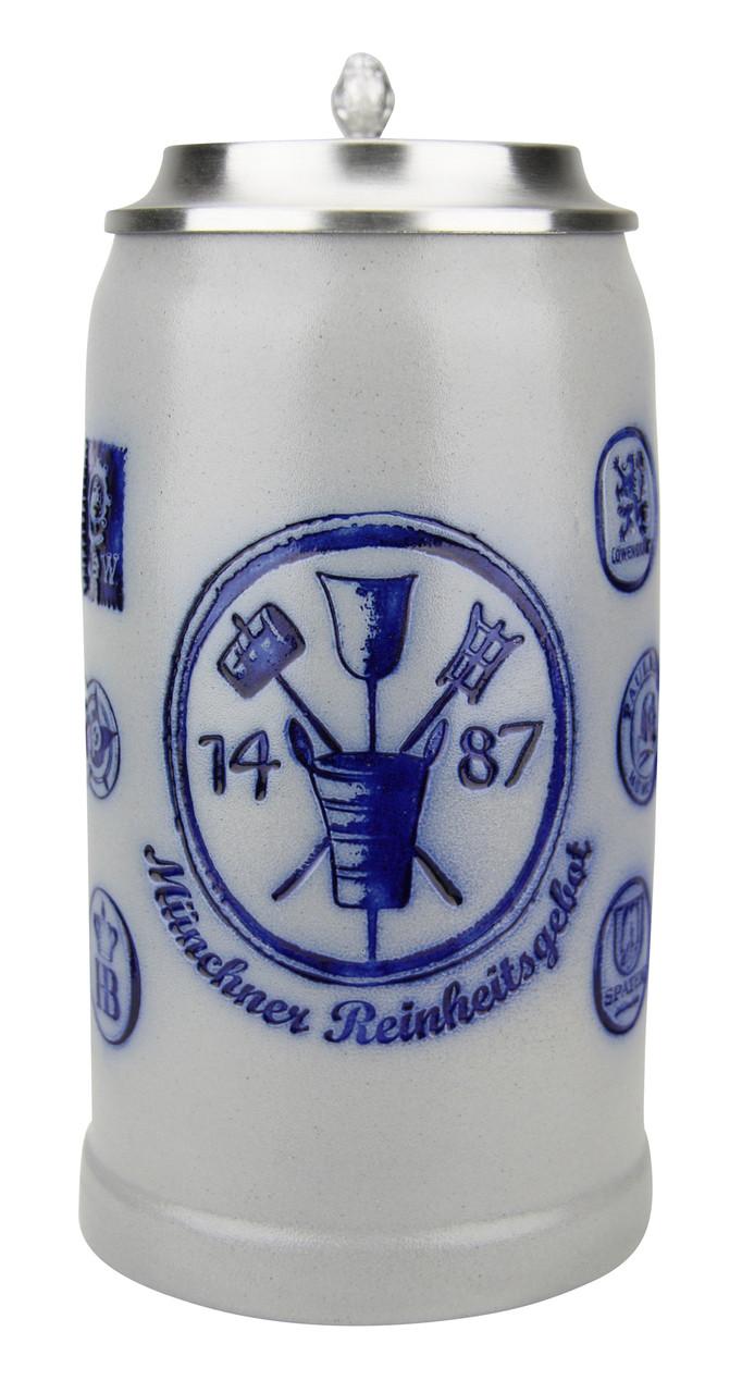 Munich Purity Law 1487 1 Liter Salt Glaze Stoneware Beer Stein