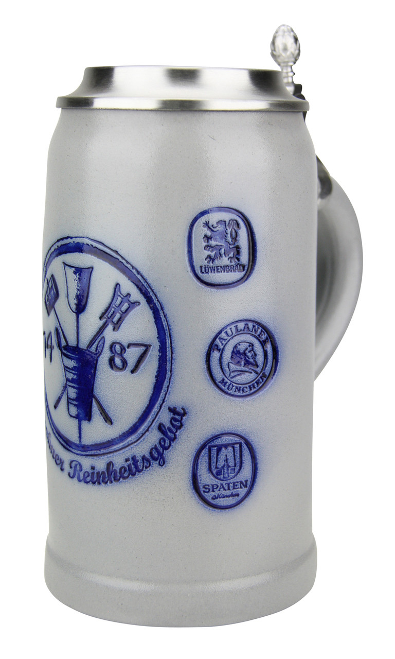 Munich Purity Law 1487 1 Liter Salt Glaze Stoneware Beer Stein