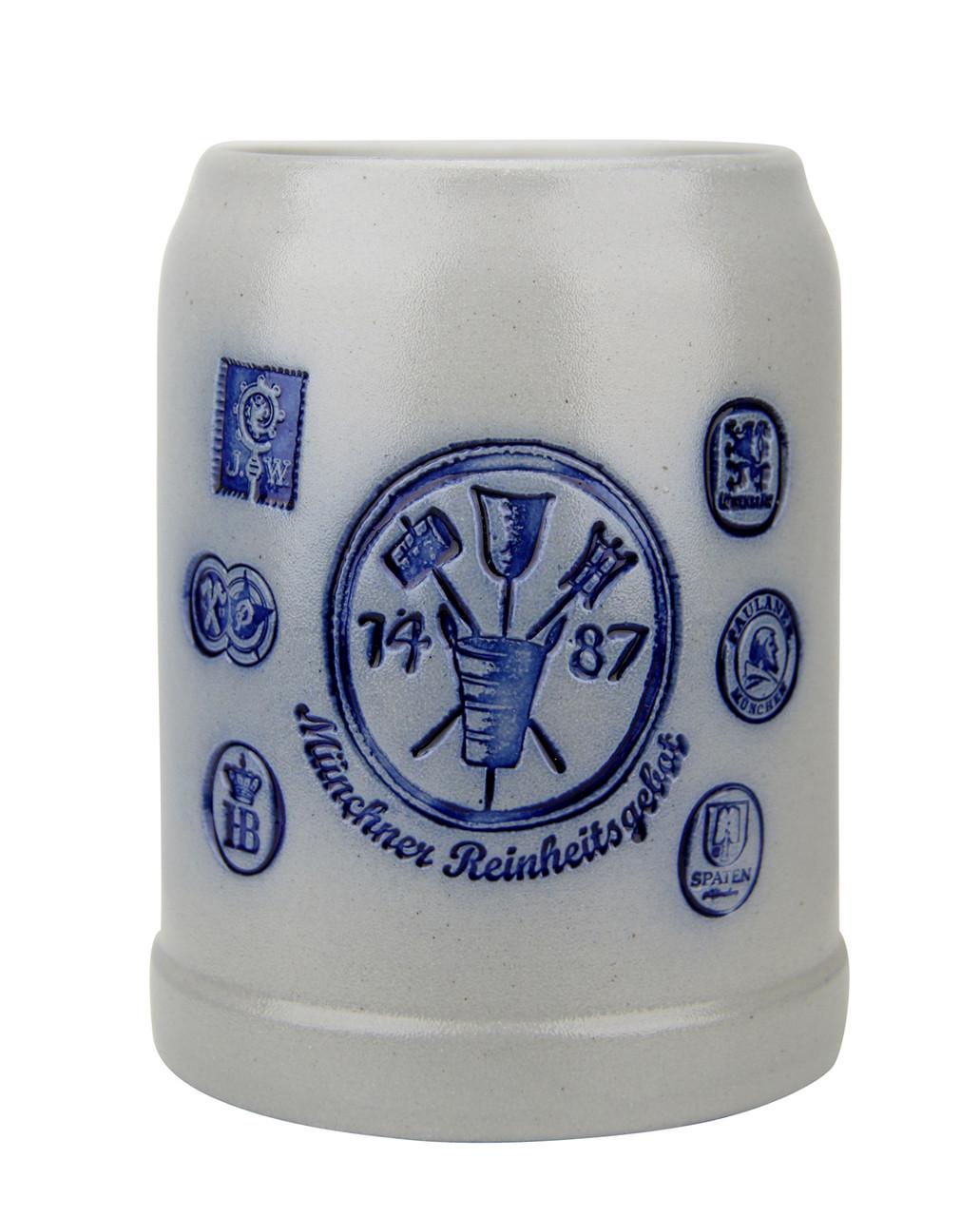 Munich Purity Law 1487 0.5 Liter Salt Glaze Stoneware Beer Mug