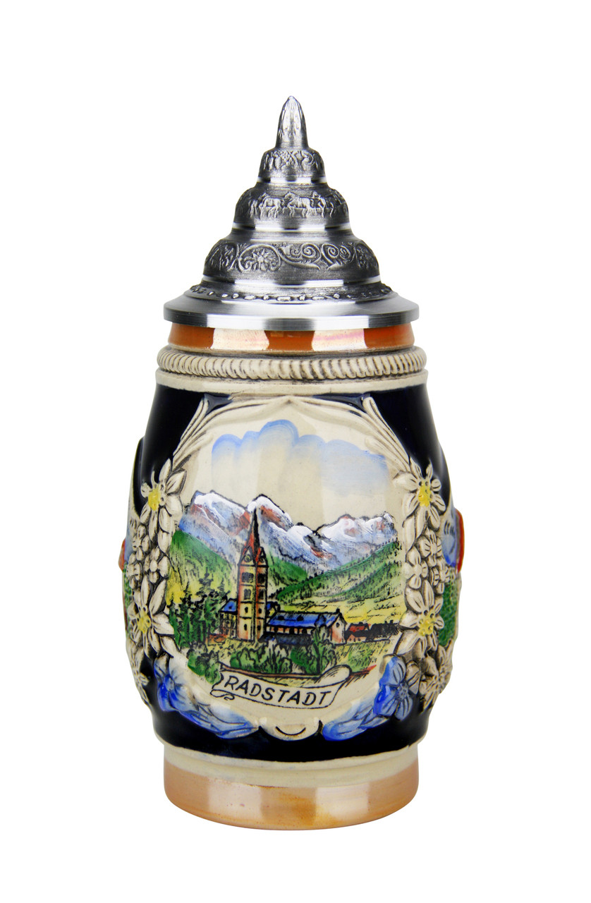 Hand-Painted .25 Liter Austria Beer Stein with Relief Pewter Lid