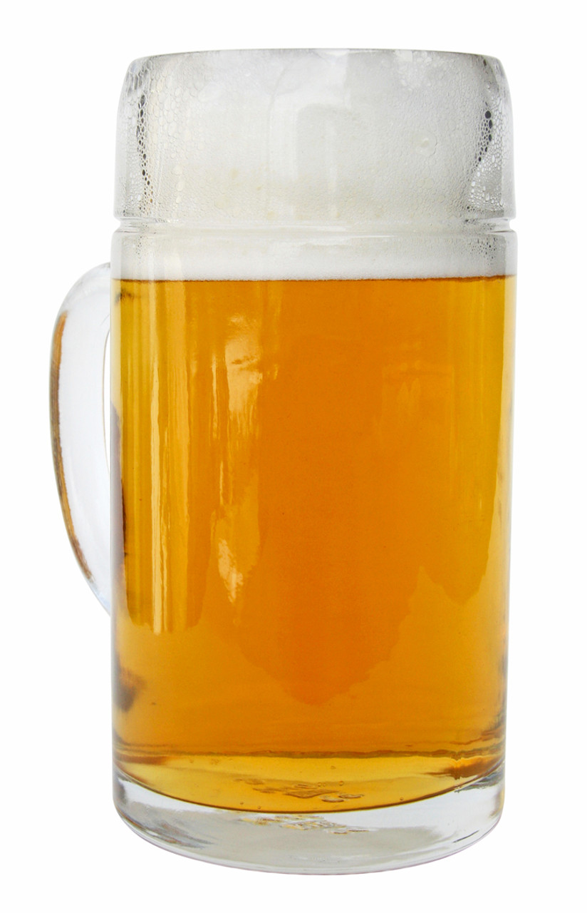 1L Styria Smooth Body Oktoberfest Glass Beer Mug, Three Quarter View