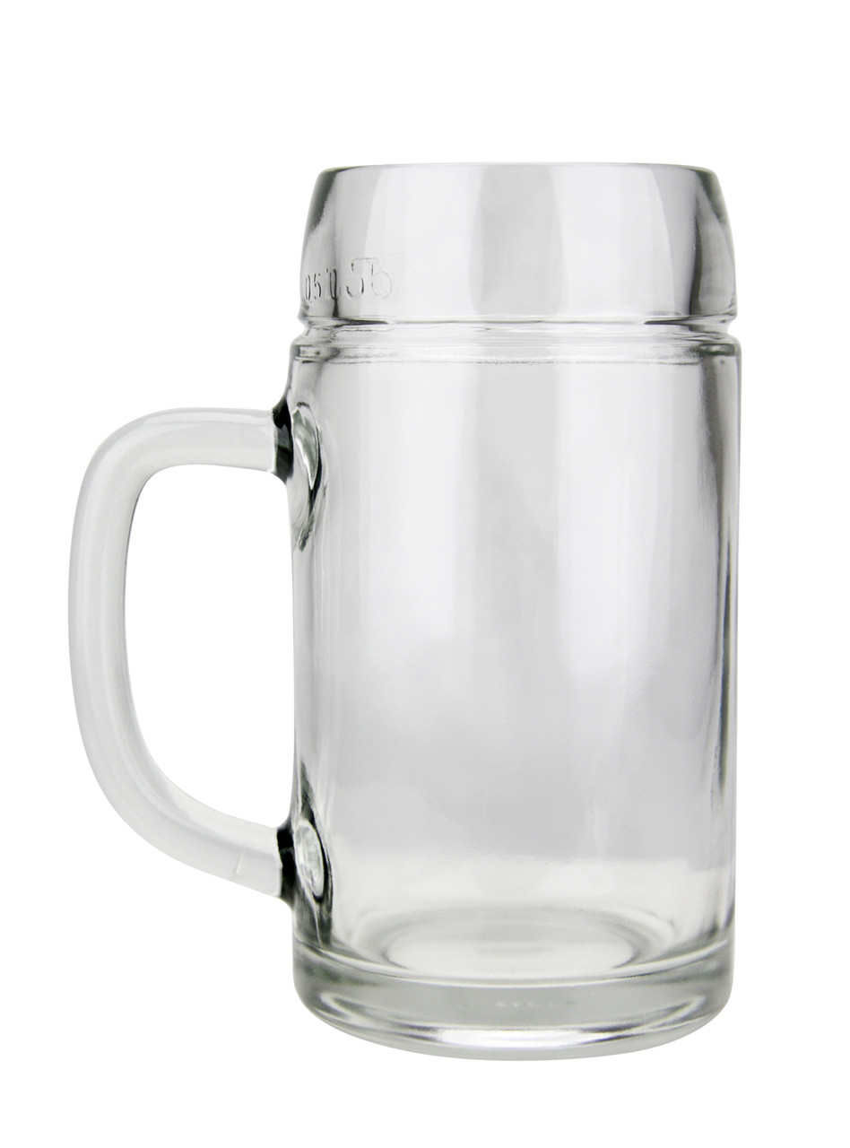 Empty, Right Side View 0.5L Smooth body Oktoberfest Glass Beer Mug