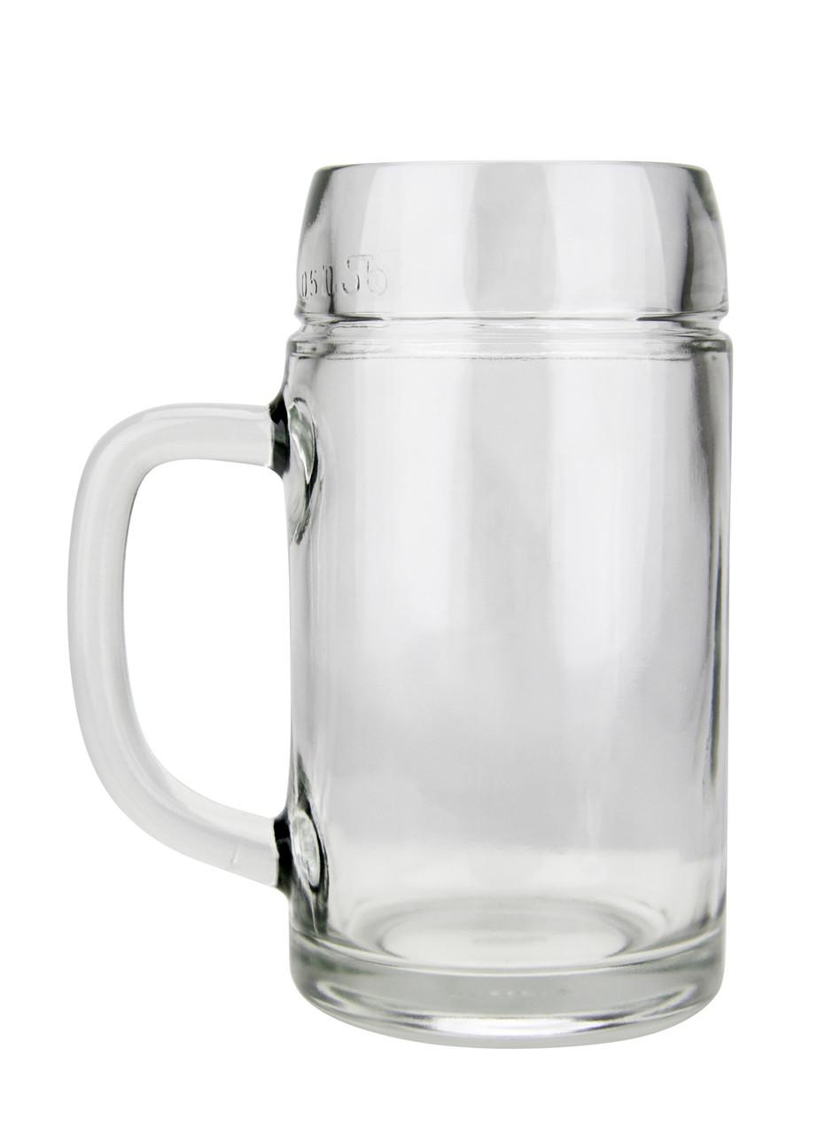 Empty, Right Side View 0.5L Smooth body Oktoberfest Glass Beer Mug