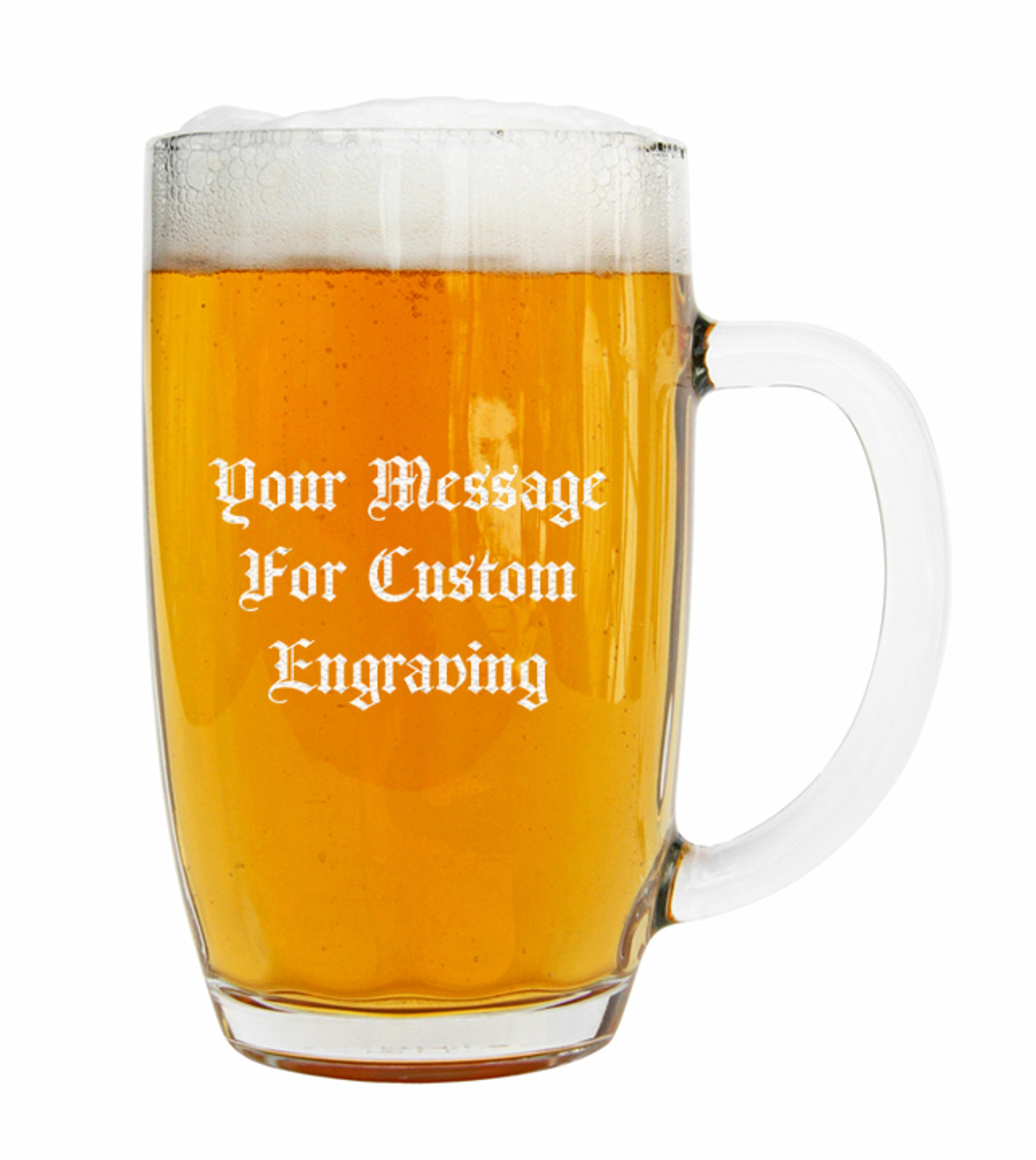Custom Engraving Placement, 0.5L Bohmisches Glass Beer Mug