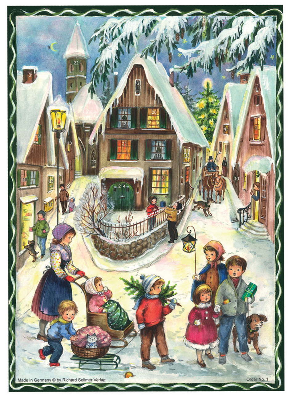 Classic Christmas Village Scene German Advent Calendar