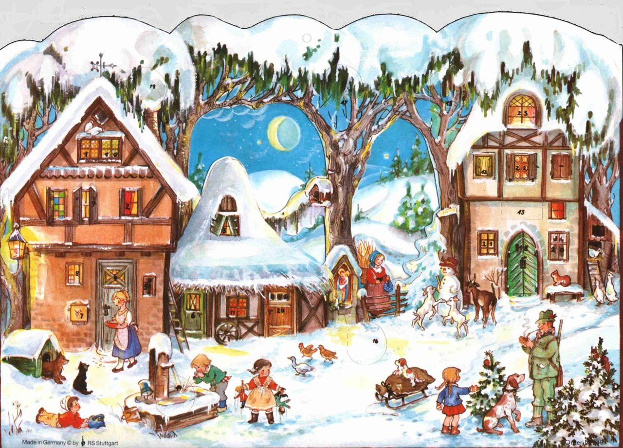 Winter Country Scene German Christmas Advent Calendar