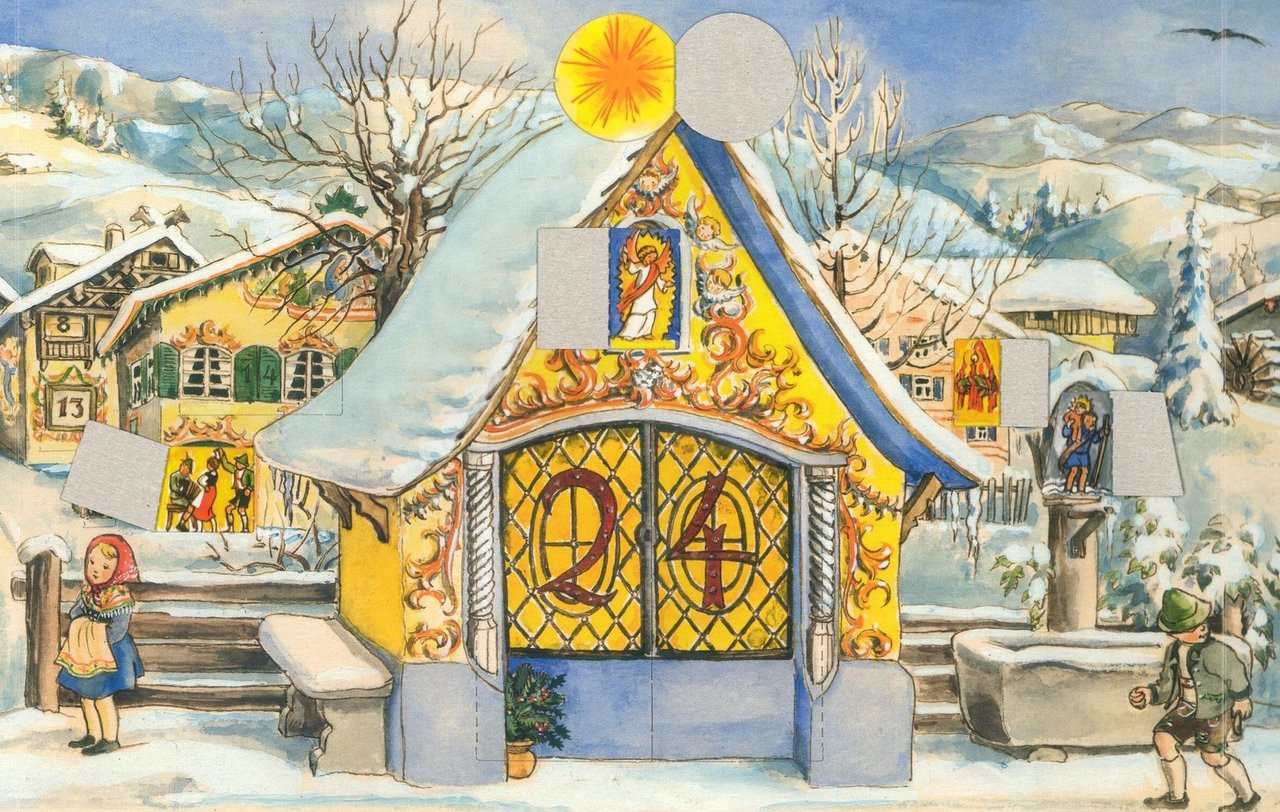 Traditional German Christmas Advent Calendar of Alpine Chapel